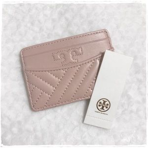 NWT! Tory Burch Alexa Card Case Holder Shell Pink